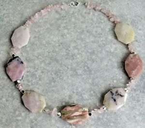 Silver Plated Semi Precious Faceted Opal Stone Necklace