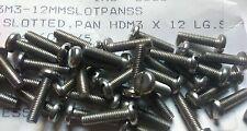 25pcs Stainless Steel Slotted Pan Head M3 x 12mm Screws