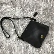 Vintage Black Leather Authentic Coach Crossbody Handbag Turn lock Brass