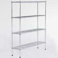 "Adjustable 55""x36""x14"" Steel Shelf 4 Tier Wire Shelving Wire Rack Chrome"
