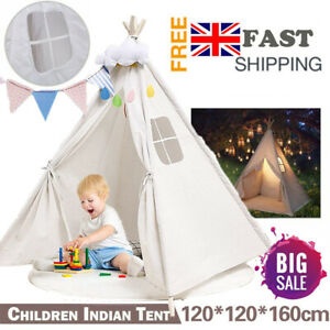 Large Kids Indian Teepee White Tent Children Wigwam In/Outdoor Play House Gift