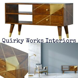 Quirky TV Stand Media Unit Cabinet Chestnut Gold Brass Retro Danish Style