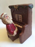 Piano Playing Santa Claus Resin Figure Vtg 1993 Christmas Decorations