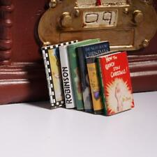 6x 1:12 Hot Wooden Doll House Miniature Books  For Dollhouse Room Kits