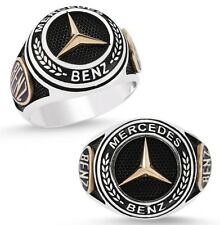 Mercedes Benz Ring massiv 925 K Sterling Silber Herrenring