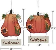 Wood Pumpkin Welcome Hanging Sign Fall Harvest Halloween Thanksgiving Door Decor