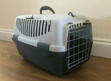 Pet Cat Transport Box - travel crate cage carrier - top loading - grey plastic