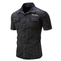 Mens Fashion Jean Denim Shirt Short Sleeve Streetwear Casual Cotton Tops Shirts