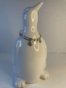 2013 Alex and Ani Charm Bangle Bracelet - Energy & Bee - Shiny Silver Finish