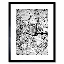 Abstract Ice Water Grey Black White Picture Framed Wall Art Print