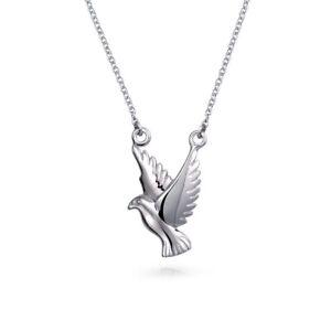 Peace Dove Faith Bird Pendant Necklace 925 Sterling Silver Chain