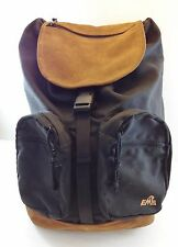 EMS Eastern Mountain Sports Black Polyester & Brown Faux Suede Large Backpack