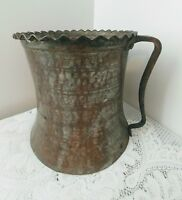Antique Hand Hammered Large Copper Pitcher Jug Vase w/Crude Handle