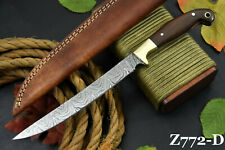 Custom Damascus Steel Fillet Hunting Knife Handmade With Walnut Handle (Z772-D)