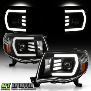 For 2005-2011 Toyota Tacoma TRD Black LED Tube Projector Headlights Left+Right