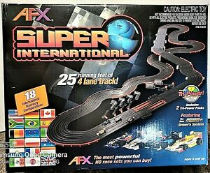 AFX 21018 SUPER INTERNATIONAL Mega G+ HO Scale Slot Car set New