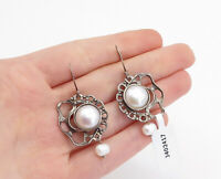 NETA ISRAEL 925 Silver  - Vintage Freshwater Pearls Dangle Earrings - E9272