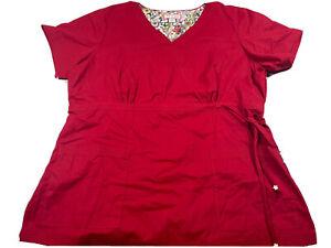 Koi Ruby Lindsay NWOT 2X XXL Waisted Slimming Red Womens Scrubs Medical