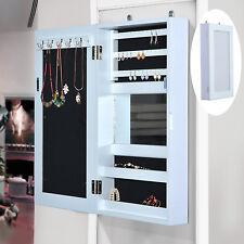 HOMCOM Jewelry Box Holder Wall Hanging Mirror Women White Storage Case Display
