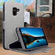 Galaxy A8 2018 Folio Billetera Cuero Abatible Estuche Soporte de múltiples funciones Gris Beis