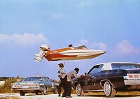 Art print POSTER / Canvas Stuntman Jumping a Speedboat over Cars