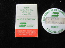 VINTAGE BURLINGTON NORTHERN RAILROAD POCKET FIRST AID KIT AND SAFETY PINBACK