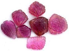 24.49 Carat Lot Seven Natural Pink Tourmaline Leaf Carving Gemstone Gem Stone