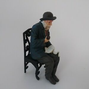Miniature resin dollhouse doll 1:12 scale bearded old man sitting w/paper & pipe