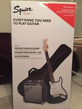 Squier Stratocaster Pack Black Electic Guitar and Frontman 10G Amplifier