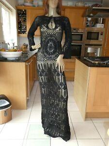 *RAG & BONE* Ladies Black Long Sleeve FULL LENGTH LACE KNIT DRESS M EC rrp£570