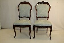 Gorgeous Pair of French  Rosewood Parlor Side Chairs, New Upholstery