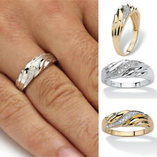 Fashion Accent 18K Yellow Gold Platinum Diamond Engagement Wedding Bands Rings