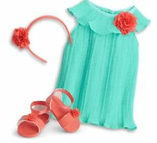 American Girl Bitty Baby PLEATS & PETALS outfit-green dress, sandals + headband