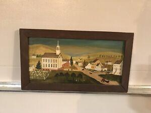 Jeanne Davies (1936) Pennsylvania Folk Arts Painting Small Town Country Scene
