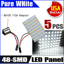 5 X HID White Car RV Trailer 1156 BA15S Adapter +48-SMD Dome Map Panel LED Light