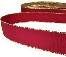 "2 Yds Gold Edge Red Satin Ribbon 7/8""W"