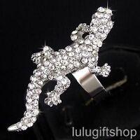 18K WHITE GOLD PLATED 3D LIZARD RING USE SWAROVSKI CRYSTAL FREE SIZE ADJUSTABLE