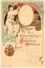 POSTCARD GERMAN 1900 GUTENBERG 500 YEAR JUBILEE ANNIVERSARY ART NOUVEAU