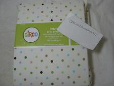 New Circo Fitted Crib Sheet Multi Color Dots: Brown Blue Green Purple 28x52 Nip