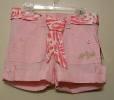 South Pole Girls Shorts + Animal Print Sash Pink Sand Safari M/10-12 NWT