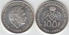 Gertbrolen MONACO 100 Francs Argent  40 Ans du Règne de  Rainier III 1989 N° 8