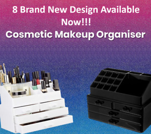 Cosmetic Organiser Acrylic MakeUp Drawer Jewellery Case Box (Black & White)