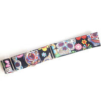 Martingale Dog Collar SUGAR SKULL Greyhound Whippet Lurcher & Matching Dog Lead