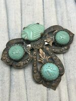 Egyptian Revival Brooch Art Deco Scarab Faux Turquoise Vintage Costume Jewellery
