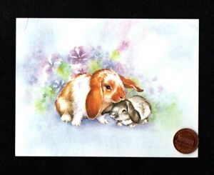VINTAGE Bunny Rabbits Snuggling Purple Flowers SMALL -  Easter Greeting Card