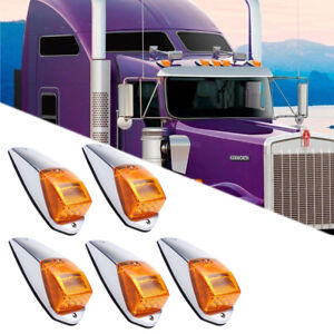 5pc 17LED Amber Cab Roof Top Running Warning Light For Peterbilt Kenworth Volvo