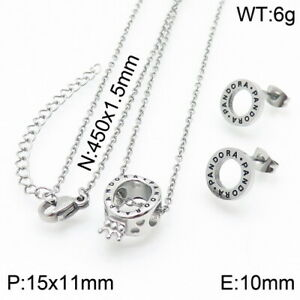 Stainless Steel Crown Necklace Pendant Earrings Set