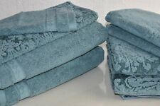 New Sanderson 8 Pc Solid Riverside Damask Cadet Blue Bath Hand Washcloth Towels