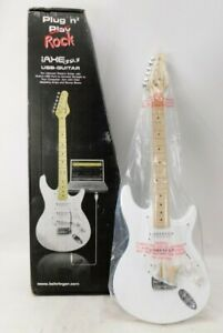 """Behringer iAXE 393 USB and 1/4"""" outputs. White strat style electric guitar. NOB"""