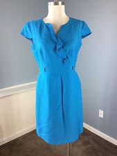 Tahari S 6 P Bright Blue Sheath Cocktail Career Dress Linen Blend cap sleeve